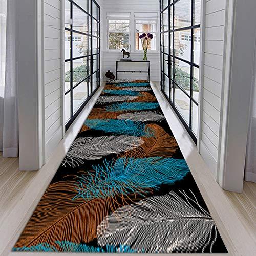 カラーフェザーデザインコットンエリアラグ、3Dプリントコレクションラグ玄関フロアマット洗える屋内フロアランナーラグ、厚さは0.6Cm、1㎏/㎡,60x200cm/1.97x6.56ft