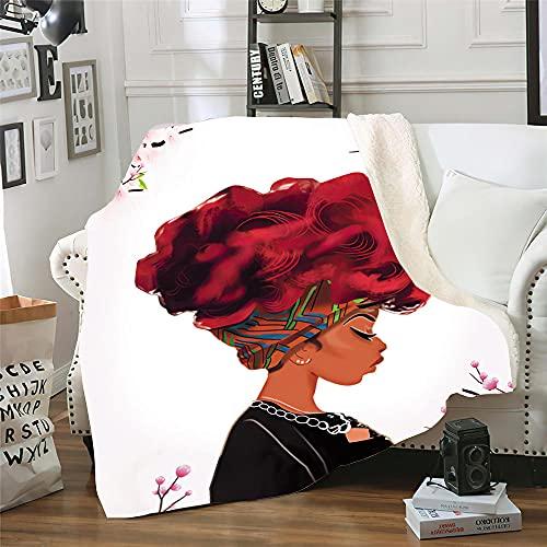 Microfibra Sofá de La Manta Pelirroja Africana 3D Manta Estampado Caliente Suave para Ropa de Cama, Sofá, Camping, Viajar Mantas 100X150Cm