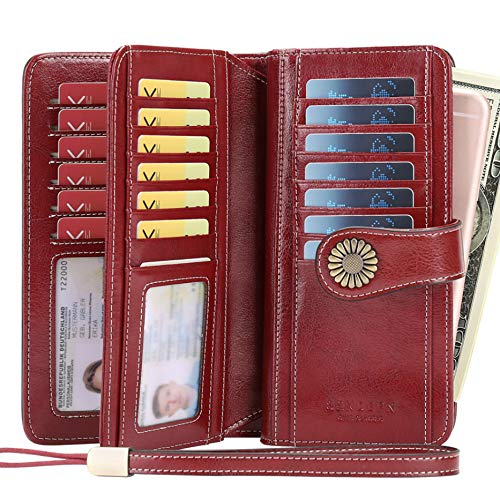 Women Wallet, Large Capacity with RFID Protection, Genuine Leather by SENDEFN, Wine Red