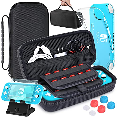 HEYSTOP Compatible with Nintendo Switch Lite Carrying Case Mini Switch Lite Cover Case Tempered Glass Screen Protector, Adjustable PlayStand, 6 Thumb Grip Caps for Nintendo Switch Lite Accessories