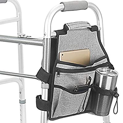 Side Walker Bags,Walker Organizer Pounch for Rollator and Folding Walkers,Walker side Accessories for Elderly, Seniors, Handicap, Disabled (Double Sided)