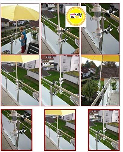 Pour parasols d'un support de parasol pour 25,5 mm à 53 mm-lot de 2–support de parasol pour balcon ou pour l'extérieur fixation à l'intérieur 11 cm de distance de parapluie-holly pour fixation breveté rond ou carré éléments d'env. 2 à 60/55 mm avec 5 positions réglables mULTI-support pivotant à 360° avec kratzfreien gUMMISCHUTZKAPPEN pour fixer le support pivotant 360 °f à distance pour parapluie de bâtons à 25,5 ø 55 mm avec douille profonde d 11 cm 13 cm de long bec pivotant-distance filetage-axe-fabriqué en innovation aLLEMAGNE-holly ® produits sTABIELO-holly-sunshade ® à sur-sCHIRMEN de 2,5 cm-diamètre 2 supports de fixation ou 2 unités de division utiliser pour des raisons de sécurité (kabelbinder)