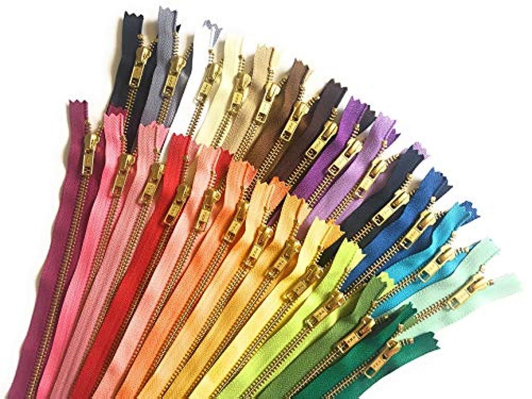 YKK Metal Zippers 25 Assorted Color Pack of Gold Zippers No. 5 Zips