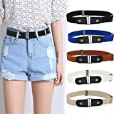 Buckle-Free Invisible Elastic Waist Belts, Adjustable Elastic Belt for Women and Men, Comfortable & Easy To Use (Blue)
