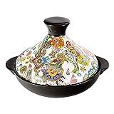 JSMY Taji Pot Cacerola de cerámica Sartén Engrosada Antideslizante y Resistente a Altas temperaturas con Base de Hierro Fundido y Tapa de Embudo de gres para Todos los Tipos de Placas