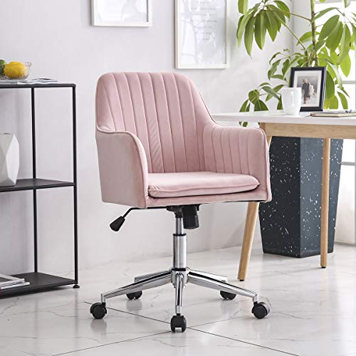 Hironpal Velvet Ergonomic Office Chair, 360° Swivel Desk Task Chair with Armrest Executive Computer Occasional Chair for Home Office Reception with Tilt Function Height Adjustable Padded Seat Pink