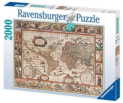 Ravenburger-16633 6 geografía Puzzle 2000 Piezas Mapamundi de 1650, Multicolor (16633)