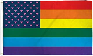 Trade Winds 3x5 New Glory Rainbow Gay Lesbian Triangle Flag 3'x5' Banner Brass Grommets Premium Fade Resistant