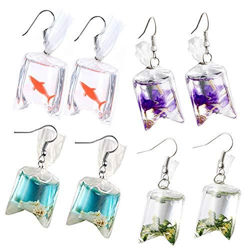 4 paia di orecchini pendenti a forma di stella marina in resina, a forma di borsa, con gancio, per donne e ragazze