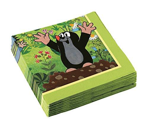 amscan 11012144 9902922 - Servietten Der kleine Maulwurf, 20 Stück, 33 x 33 cm, Kindergeburtstag