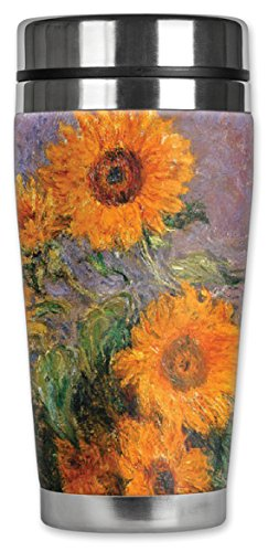 """Mugzie 97-MAX""""Monet: Sunflowers"""" Stainless Steel Travel Mug with Insulated Wetsuit Cover, 20 oz, Black"""