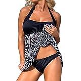 MORCHAN Les Femmes de Grande Taille Push-up Robe de Bain Tankini définit Deux pièces Bikini Maillot de Bain (L, Noir)