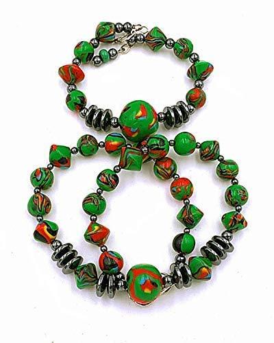 Schmuckset: Perlenkette Armband Damen Handmade grün rot schwarz gelb, Gesamtlänge Kette: ca. 42 cm