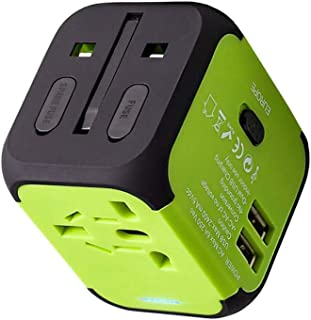 UPPEL Travel Adapter Dual USB All-in-one Worldwide Travel Chargers Adapters for US EU UK AU About 152 Countries Wall Universal Power Plug Adapter Charger with Dual USB and Safety Fuse (Green)