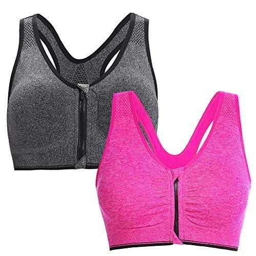 Aibrou Damen Sport BH Yoga Bra Push Up BH Starker Halt Bustier für Fitness Training mit Reißverschluss Grau Rosa XL