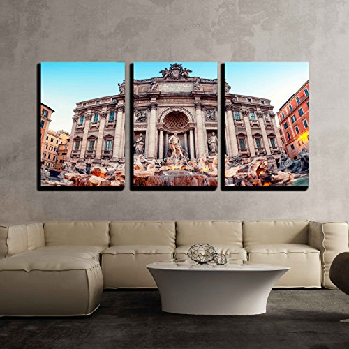 """wall26 - 3 Piece Canvas Wall Art - Trevi Fountain (Fontana di Trevi). Rome - Italy. - Modern Home Decor Stretched and Framed Ready to Hang - 16""""x24""""x3 Panels"""