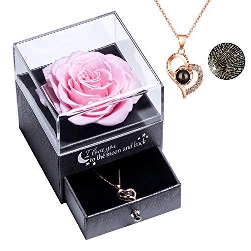 Rosa Real preservada con Collar I Love You Caja de Regalo en 100 Idiomas, Rosa eterna para el día de San Valentín, día de la Madre, Aniversario de Bodas, Regalo de cumpleaños para Ella - Rosado
