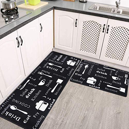Pauwer Anti Fatigue Floor Mat 2PCS Non Slip Kitchen Rugs and Mats Waterproof Stain Resistant Kitchen Runner Rug Sets Cushioned PVC Kitchen Mats Comfort Standing Mats for Kitchen Floor