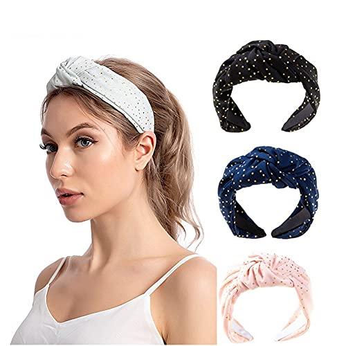 HAIRAN 4 diademas para mujer con lunares y cinta elástica trenzada para el pelo para mujeres y niñas