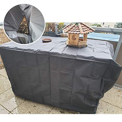 GZHENH-Funda Protectora Muebles Jardín ,Impermeable con Cordón A Prueba De Viento Lona Impermeable Patio Funda para Mesa Y Silla, 10 Tamaños (Color : Black, Size : 126x126x74CM)