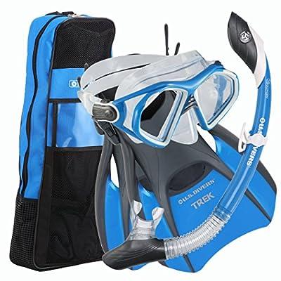 U.S. Divers Admiral 2 LX Mask/Island Dry LX and Trek Snorkeling Set, Cobalt B.
