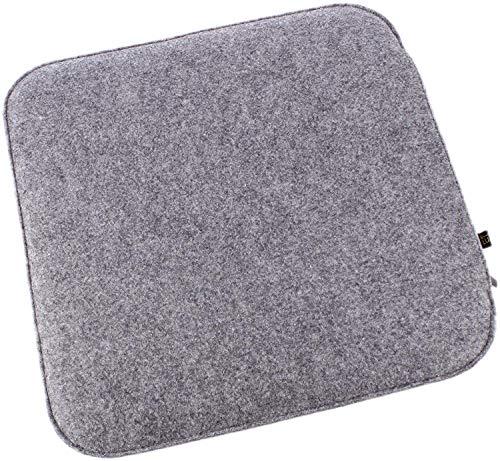 6er Set Filz Sitzkissen in Graumeliert und cremeweiß zum Wenden, waschbare Stuhlauflage weich gepolstert inkl. Reißverschluss. Moderne Sitzauflage, quadratisch ca. 35x35cm groß