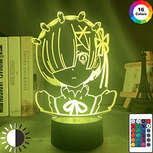 Anime Rem Re Zero Figur Nachtlicht Led Touch Sensor Farbwechsel Baby Nachtlicht für Schlafzimmer Dekor Schreibtisch 3D Lampe Manga Geschenk