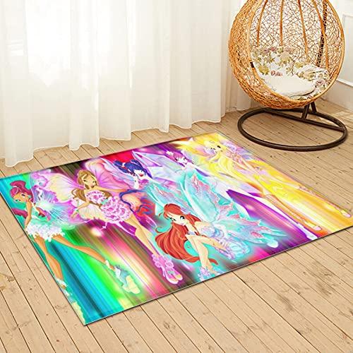 Large Puzzle The Winx Club - Alfombra de piel de conejo sintético natural ultra suave, alfombra mullida de lujo para sala de estar, dormitorio, cama