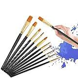 Ealicere Pinceles para Pintura acrílica,10 Piezas Juego de Pinceles para Artistas de Nailon para Acuarelas,Set de Pinceles de acrílico y Pinturas al óleo para Artistas,Principiantes,niños,Negro.