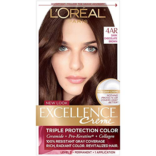 L'Oreal Paris Excellence Creme Permanent Hair Color, 4AR Dark Chocolate Brown, 100 percent Gray Coverage Hair Dye, Pack of 1
