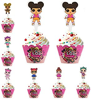 Princess Cupcake Toppers Wrappers LOL Little Girls Decorating Cake Pink Baby Birthday Party Supplies Pack of 24 sets