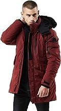 WEEN CHARM Men`s Warm Parka Jacket Anorak Jacket Winter Coat with Detachable Hood Faux-Fur Trim