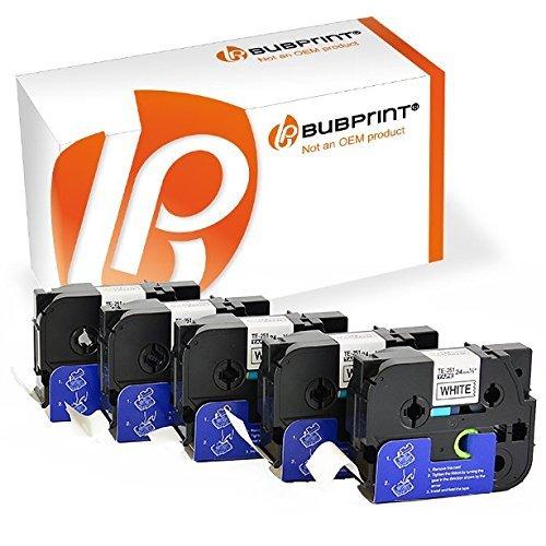 Bubprint 5 Schriftbänder kompatibel für Brother TZE-251 TZE 251 für P-Touch 2430PC 2730VP 3600 9500PC 9700PC D600VP D800W E500VP H500 P700 P750W 24MM