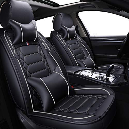 JDWBT Sitzbezüge Leder, Vorne und Hinten 5-sitziges Set Universal Leder Seasons Protectors Pad Kompatibler Airbag mit Kissen. (Farbe : Weiß)