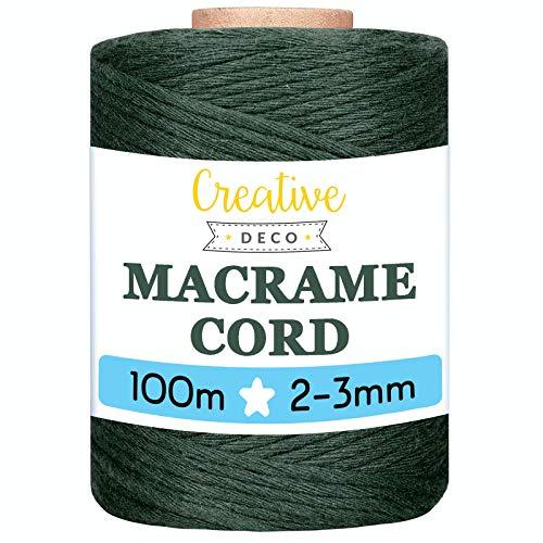Creative DECO 3mm x 100m Cuerda Macramé Hilo Algodón Verde Oscuro   3 mm Espesor +-0.5 mm   Cordón Rollo Grande Natural...