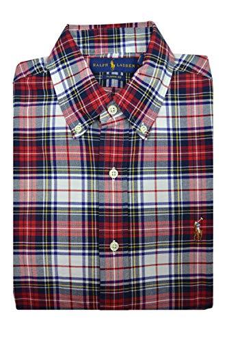 Polo Ralph Lauren Mens Classic Fit Long Sleeve Button Down Shirt Red/Blue Plaid (Large)