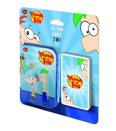 Phineas and Ferb 2 in 1 Action Game In Metal Box - Children's Card Game By Cartamundi