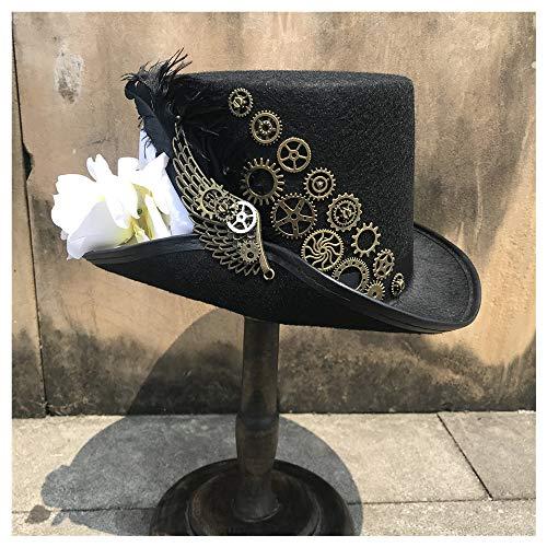 La Mode Taille 57CM Steampunk Top Women's Hat avec Metal Gear Et Fleur for Les Femmes Main Chapeau Cosplay Chapeau Chapeau De Fête Doux (Color : Black, Size : 57)