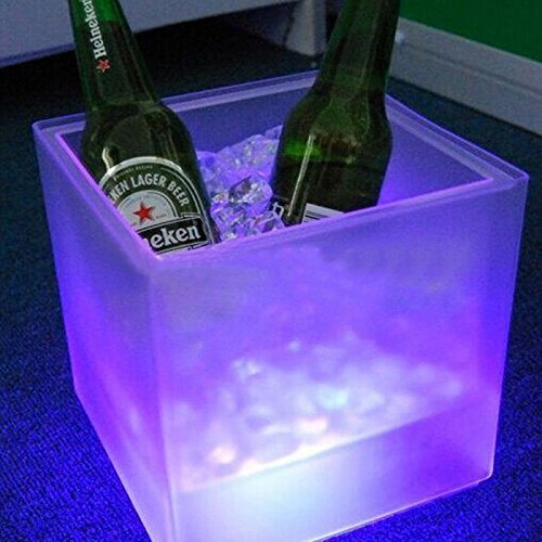 Cubo de hielo de doble capa. Luz LED de color rgb barra cuadrada cubo de hielo cerveza ktv