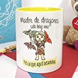 La Mente es Maravillosa - Taza con Frase y dibujo. Regalo original y gracioso (Madre de dragones solo hay una y es la que aquí desayuna) Taza Serie Juego de Tronos