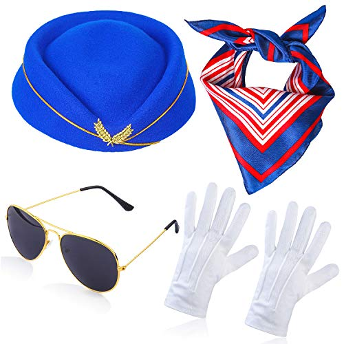 Haichen Azafata Mujer Accesorios de Vestuario Sombrero de Asistente de Vuelo con azafata Cosplay Accesorios de Disfraz - 4 Piezas (A)