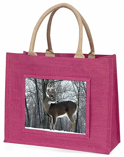 Advanta Deer Hirsch im Schnee Große Einkaufstasche Weihnachten Geschenk Idee, Jute, Rosa, 42x 34,5x 2cm