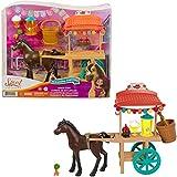 Spirit Stand del Festival con frutas y verduras Poni de juguete con accesorios de festival de caballos (Mattel GXF69)