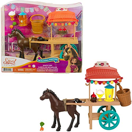 Mattel Spirit Untamed Miradero Snack Cart with Rolling Wheels, Canopy, 5-in Pony & Related Accessories, Great Gift for Ages 3 & Up