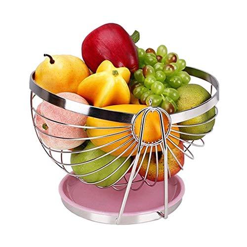 CESULIS Plato de fruta tazón de fruta, Swing Metal Acero Inoxidable Cromo Fruta Cesta de la Encimera de Almacenamiento Redondo Tazón/Decoración de Mesa Placa de Frutas