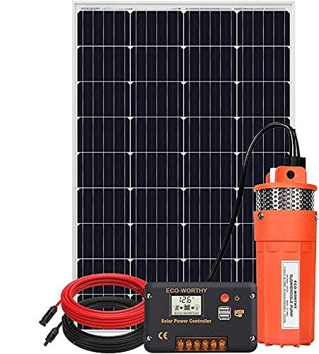DCHOUSE 120W 12V Agua Sumergible Bomba Kit,bomba de agua solar de gran flujo con kit de panel solar, para riego, pozo profundo, ganado