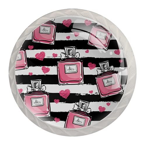 Perillas de armario de cocina, perillas decorativas redondas, armario, cajones, tocador, tirador, 4 piezas, botella de perfume, raya