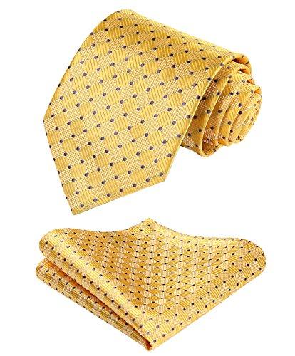 HISDERN extralarga Comprobar Panuelo de lazo Hombres Corbata & Plaza de bolsillo Conjunto Amarillo/morado