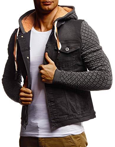 Leif Nelson Herren Jeansjacke schwarz Jeans Jacke für Männer Freizeitjacke Übergangsjacke mit Kapuze Hoodie Kapuzenjacke verwaschen Casual Slim Fit LN9630 LN9630 Anthrazit X-Large