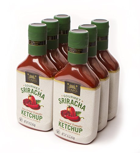 Traina Home Grown Gourmet Sriracha Ketchup - No Corn Syrup, Non GMO, Gluten Free, 16 oz bottle (Pack of 6)